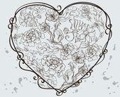 Hjärta med blommor — Stockvektor