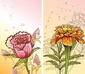Dekoratif çiçeklerle iki pictores — Stok Vektör