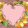 Abstract background with decorative flowers and heart — Imagen vectorial