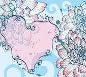 抽象背景与装饰花和心 — 图库矢量图片