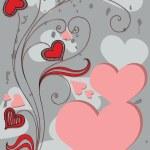 bakgrund med dekorativa blommor och hjärtan — Stockvektor