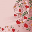 Background with flowers and hearts — Vettoriali Stock