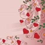 bakgrund med blommor och hjärtan — Stockvektor