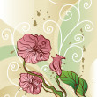 Floral background with decorative pink flowers — Stok Vektör
