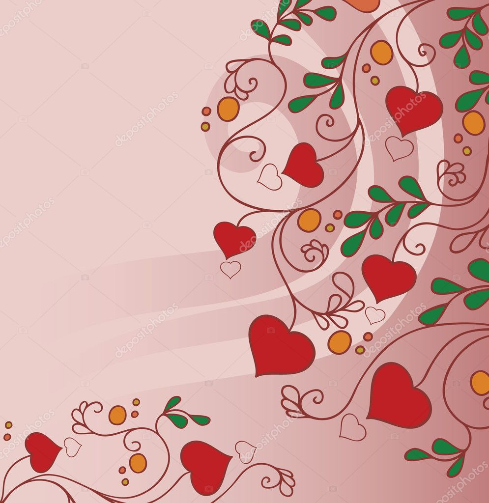 Background with flowers and hearts  Stock Vector #4879359