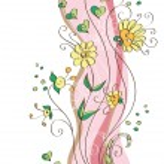 bakgrund med dekorativa pastellfärgade blommor och hjärtan — Stockvektor