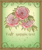 Vintage background with peony — Stock Vector