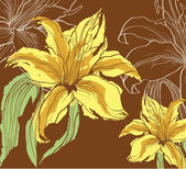 Abstract background with decorative lily — ストックベクタ