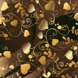 Golden background with heart — Imagens vectoriais em stock