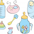 Set of things for baby — Stock Vector #5230821