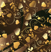Golden background with heart — Stock Vector