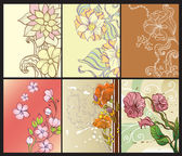 Set of abstract floral backgrounds — Stock Vector