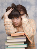 The young girl with books — Stock Photo