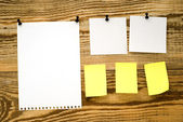 Wooden board with announcements — Stock Photo
