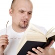 The man reads the bible — Stock Photo