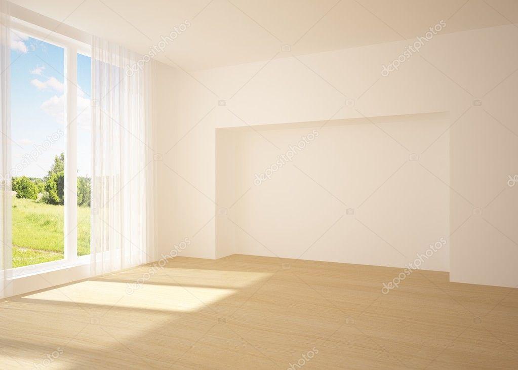 白空房间与自然观 — 图库照片©antoha713#4744816