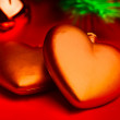 Christmas composition with two red hearts — Stock Photo