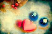 Christmas composition with red hearts — Stock Photo