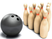 Skittles and black ball on white background, bowling — Stock Photo
