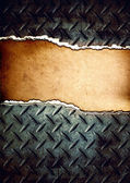Cracked diamond plate with place for text — Stock Photo