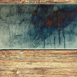 Stock Photo: Metal plate on wood background
