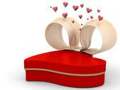 Scatola regalo divertente con forma di cuore — Foto Stock