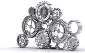 Gear machinery and titanium concept — Stock Photo