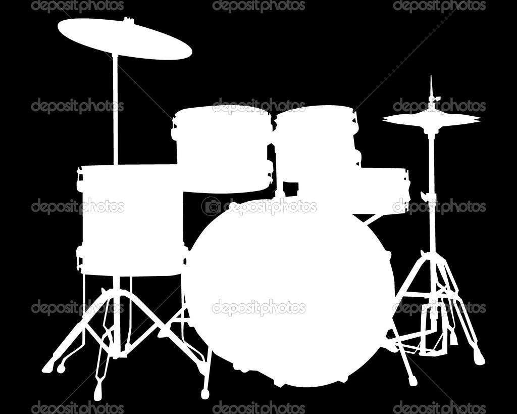 White Drum Set White Silhouette of Drum Type