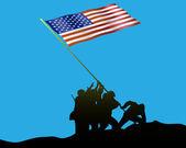 Raising the Flag on Iwo Jima — Stock Vector