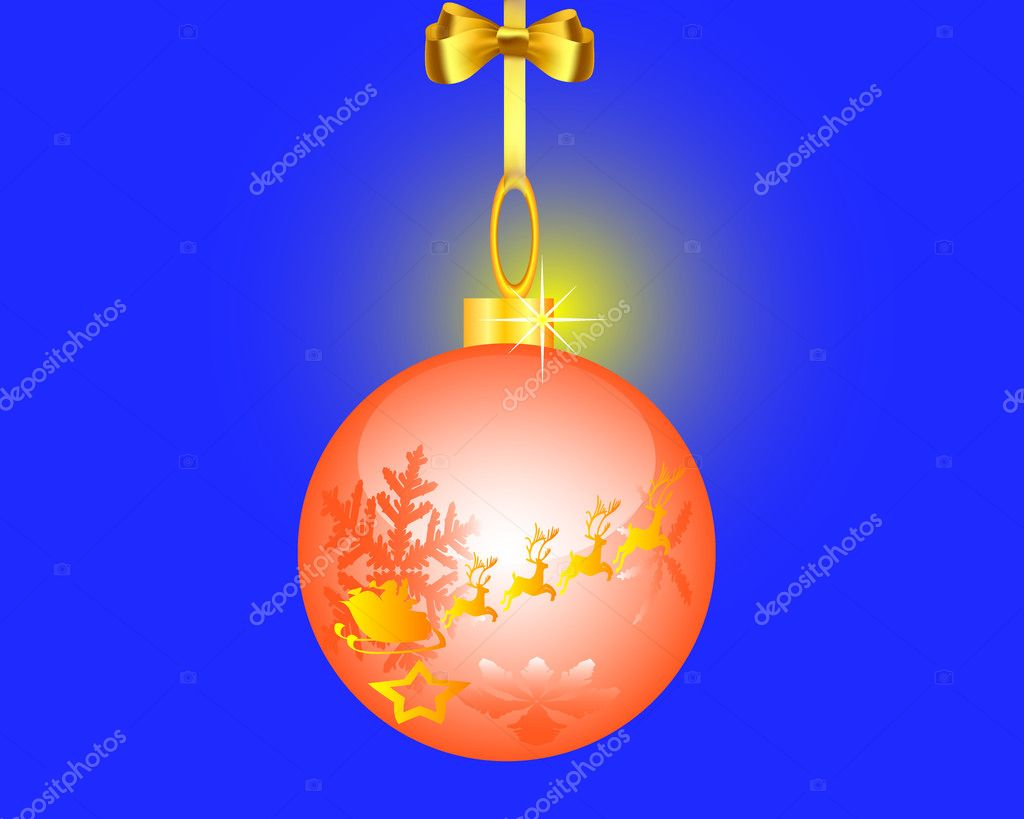 Fur-tree toy on a dark blue background — Stock Vector #4323223