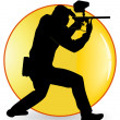 Stock Vector: Black silhouette of player in paintball