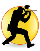 Black silhouette of the player in a paintball — Stock Vector