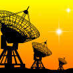 Black silhouettes of radars — Stock Vector