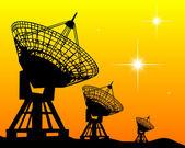 Siluetas negras de radares — Vector de stock