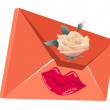 Orange package with lips and a rose — Imagen vectorial