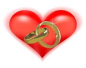 Gold wedding rings — Stock Vector