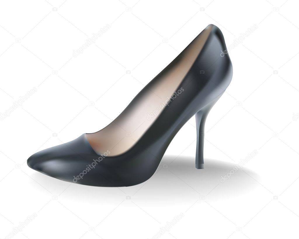 Black female shoes with a high heel stock illustration