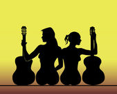 Silhouettes of girls with guitars — Stock Vector
