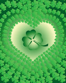 Leaf clover leaves edged in view of the heart — Stock Vector