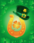 Leprechaun hat wearing a gold horseshoe — Stock Vector