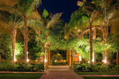 Night view of the garden of the hotel — Stock Photo