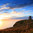 Castle at Cliffs of Moher at sunset — Foto Stock