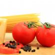 Composition of pasta, tomato and cheese — Stock Photo