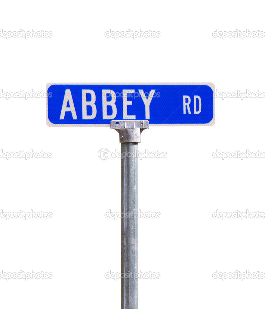 An Abbey road sign isolated on white honoring the famed Beatles recording studio in London  with room for your text — Stock Photo #5304570