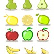 Set of vector fruits on white background — Stock Vector