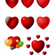 Valentine heart vector icon set — Stock Vector