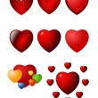 Stock Vector: Valentine heart vector icon set