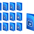 Blue basic web icons - Stock Vector