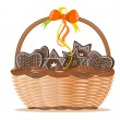Basket with ginger cakes into white background — Stock Vector #4901083