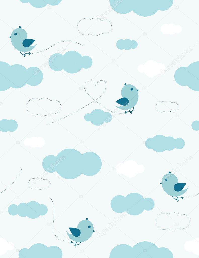 Blue birds and clouds seamless pattern for kids — Stock Vector #5132646